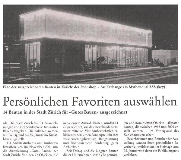 Pneu Schaller Zeitungsartikel
