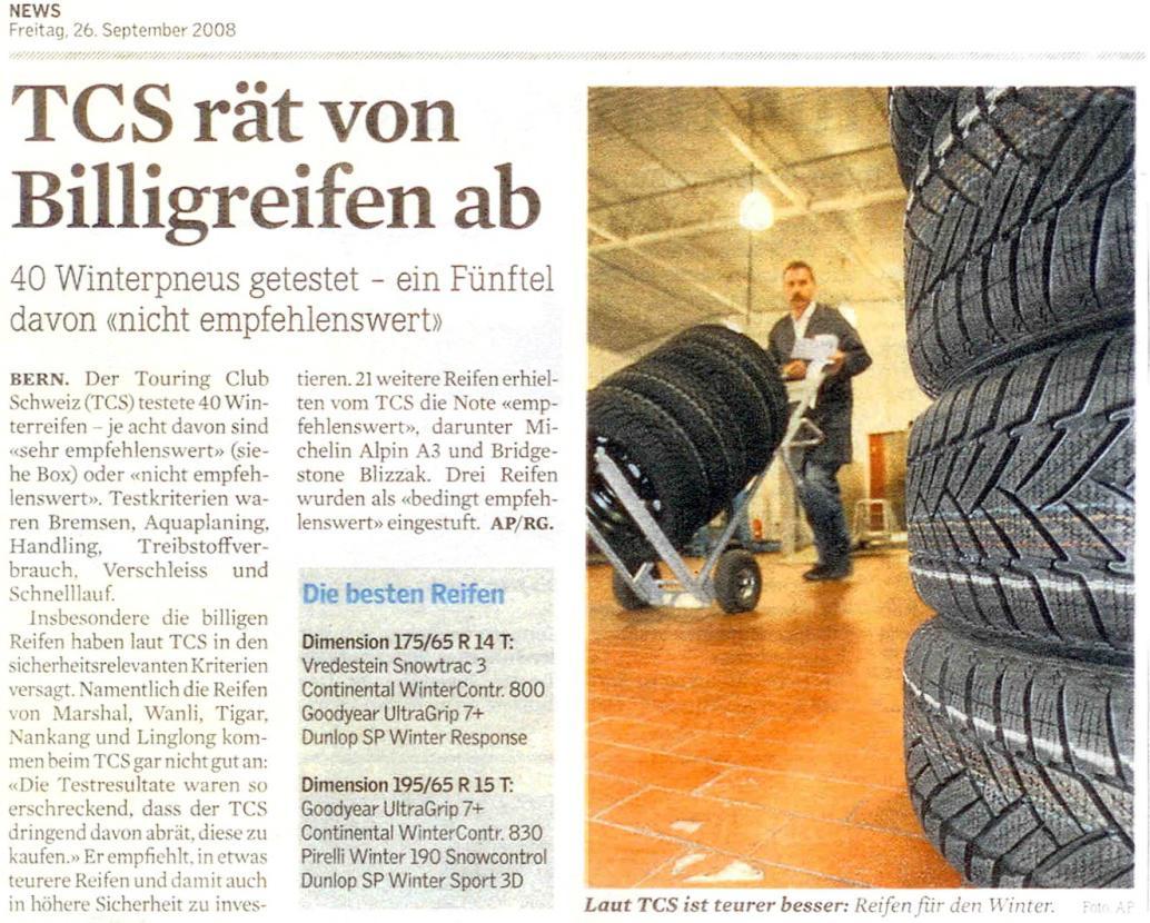 Zeitungsausschnitt über Pneu Schaller
